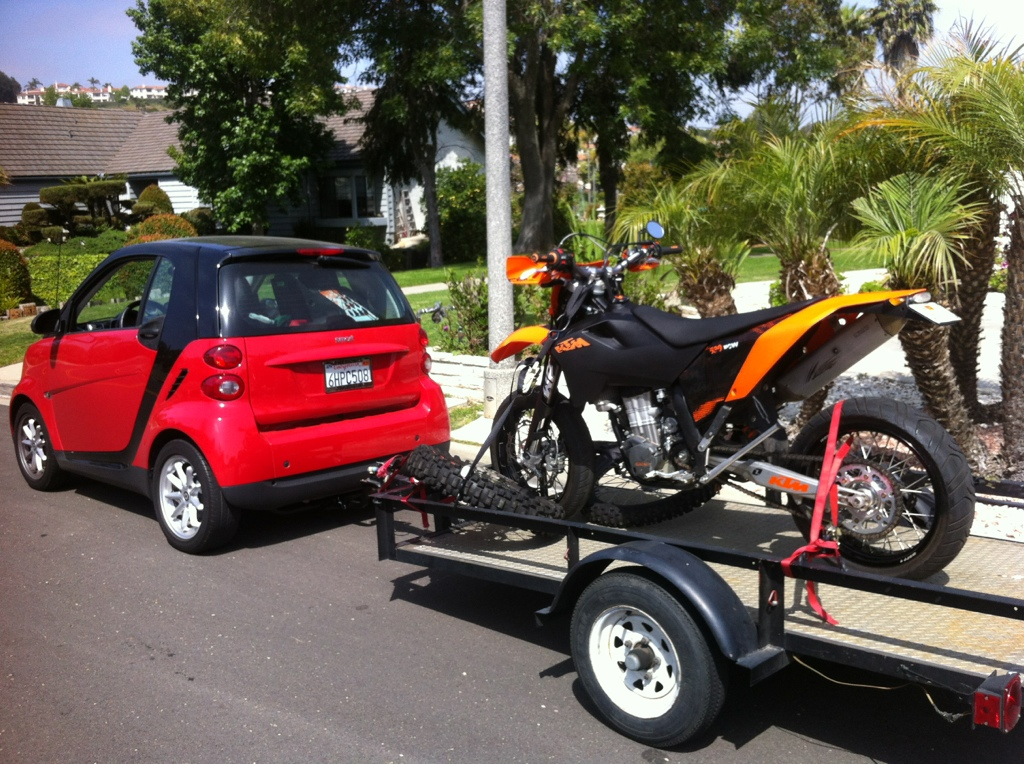 towing a motorcycle trailer with a smart car south bay riders. Black Bedroom Furniture Sets. Home Design Ideas