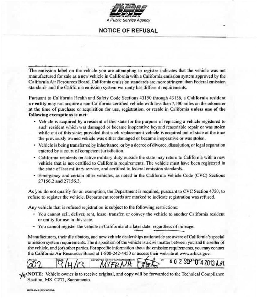 California DMV Registration Refusal Notice | Page 4 ...