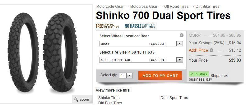 Most street worthy Dual Sport tire for dirt bike rims ...